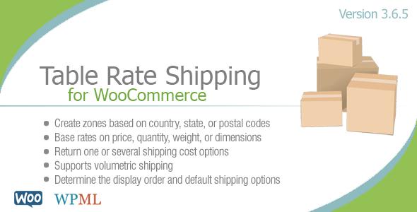 Tabla de tarifas de envío para Woocommerce