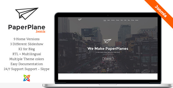 PaperPlane - Creative One Page Joomla Template